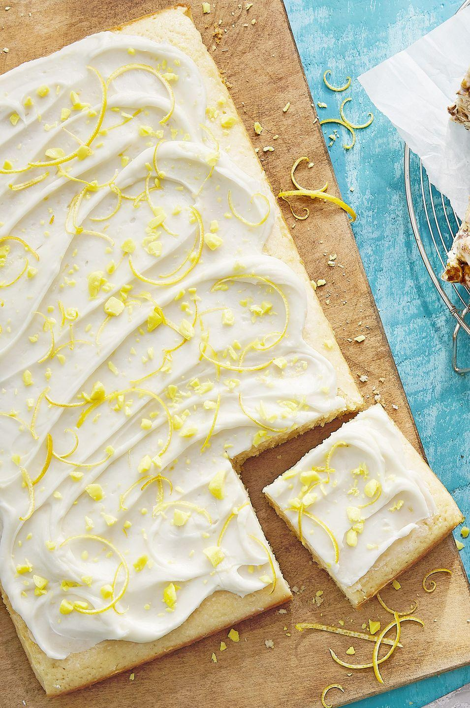 """<p>Topped with a lemony cream cheese frosting, this citrusy cake is the perfect balance between tangy and sweet.</p><p>Get the recipe from <a href=""""https://www.delish.com/cooking/recipes/a53093/dukes-lemon-drop-sheet-cake-recipe/"""" rel=""""nofollow noopener"""" target=""""_blank"""" data-ylk=""""slk:Delish"""" class=""""link rapid-noclick-resp"""">Delish</a>. </p>"""