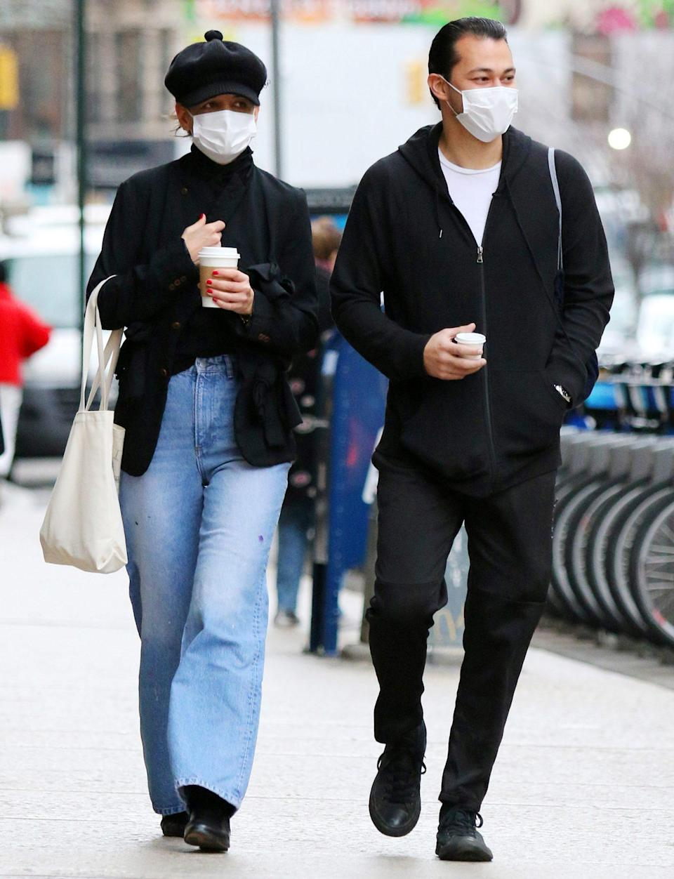 <p>Katie Holmes and Emilio Vitolo Jr. grab a coffee on Monday in N.Y.C. </p>
