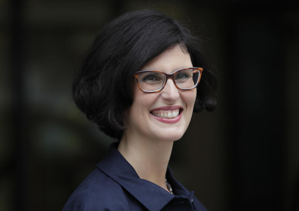 """FILE - In this Aug. 27, 2020, file photo, Layla Moran candidate for the new Liberal Democrat Leadership arrives for the announcement in London. Britain's Conservative government is hoping a combination of relatively high vaccination rates and common-sense behavior will keep a lid on coronavirus infections this fall and winter and avoid the need for restrictive measures.""""The story of this government in the pandemic is too little, too late,"""" Moran said. (AP Photo/Kirsty Wigglesworth, File)"""