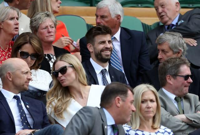 Gerard Pique, centre, pictured in the Royal Box at Wimbledon in 2018 (Jonathan Brady/PA)