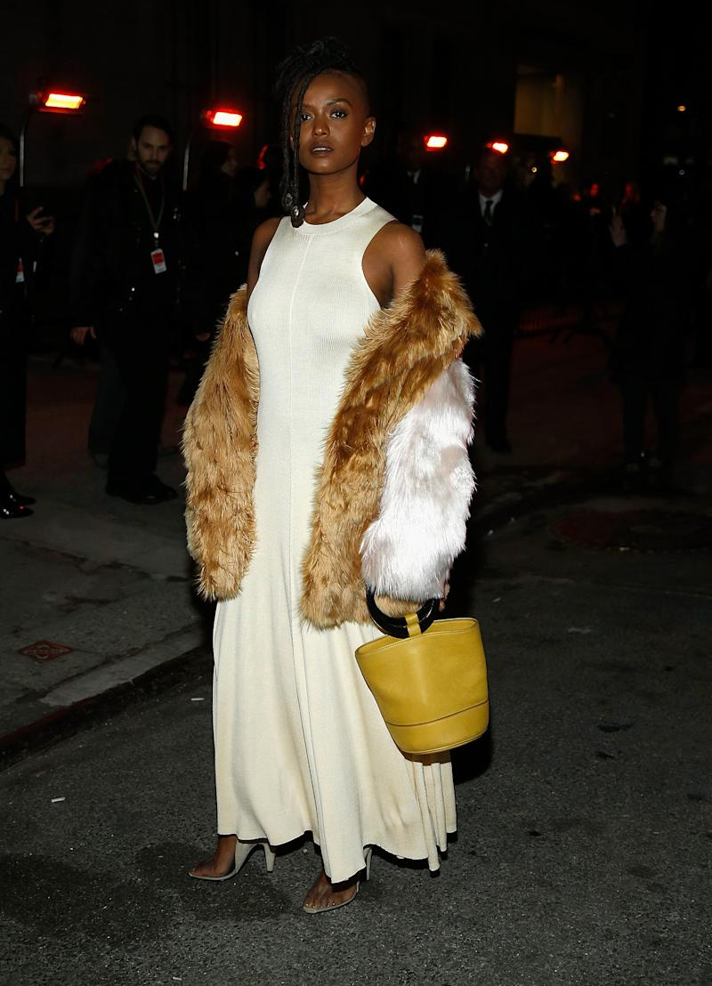 Kelela What: Calvin Klein and a Simon Miller bag Where: On the street, New York City When: February 13, 2018