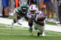 Buffalo Bills' Tre'Davious White, right, breaks up a pass intended for New York Jets' Breshad Perriman during the first half of an NFL football game Sunday, Oct. 25, 2020, in East Rutherford, N.J. (AP Photo/Frank Franklin II)