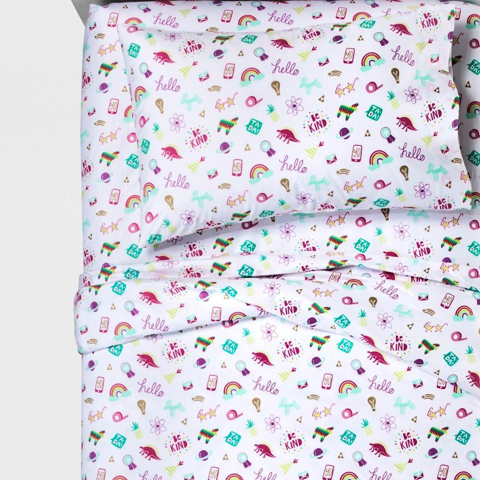 <p>Give their bedding an upgrade with this <span>Doodle Darlings Sheet Set</span> ($20).</p>