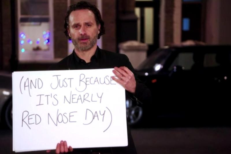 Love Actually: Andrew Lincoln recreates a famous scene in the Red Nose Day teaser trailer: BBC