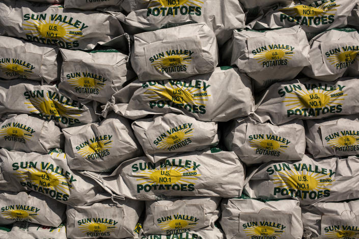 Bags of potatoes during a food distribution for laid-off casino workers in Egg Harbor Township, N.J., on Wednesday, April 22, 2020, amid the coronavirus pandemic. (Bryan Anselm/The New York Times)