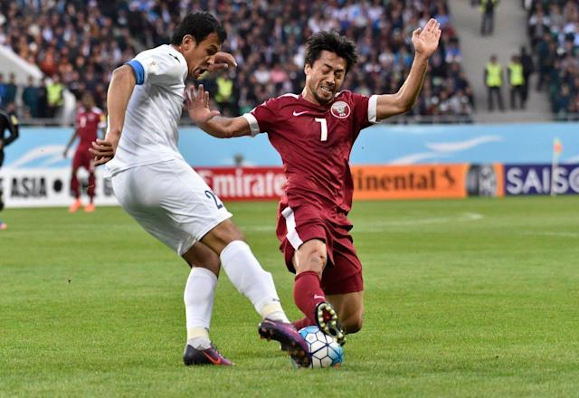 Qatar's lingering hopes of a direct qualification to the 2018 FIFA World Cup came to an end after a defeat in Tashkent..