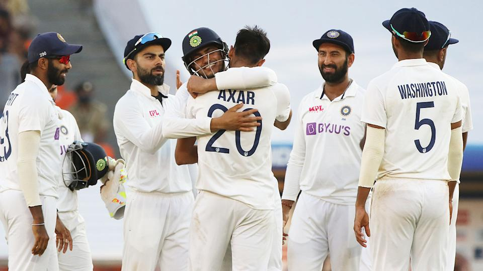 Seen here, India's players celebrate during their third Test win against England.