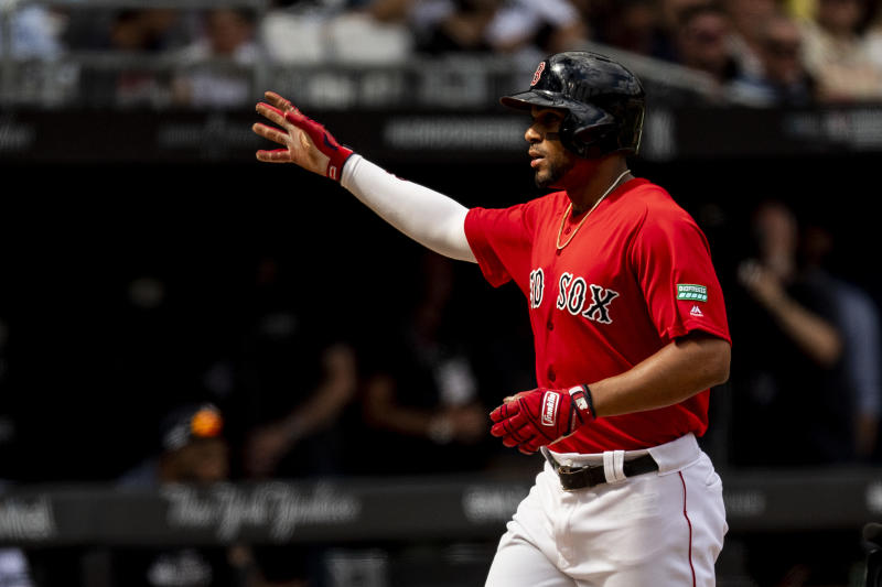 LONDON, ENGLAND - JUNE 30: Xander Bogaerts #2 of the Boston Red Sox reacts after hitting a solo home run during the first inning of game two of the 2019 Major League Baseball London Series against the New York Yankees on June 30, 2019 at West Ham London Stadium in London, England. (Photo by Billie Weiss/Boston Red Sox/Getty Images)