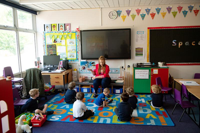 Children of essential workers socially distance whilst in lesson at Kempsey Primary School in Worcester. Nursery and primary pupils could return to classes from June 1 following the announcement of plans for a phased reopening of schools.