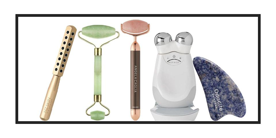 """<p>They might feel heavenly on a tight jawline, but the best face massagers out there will do so much more than soothe the day's stresses (although, right now, that feels like reason enough to invest). From aiding lymphatic drainage to increasing your skin's ability to soak up a <a href=""""https://www.harpersbazaar.com/uk/beauty/skincare/g29473750/best-face-serum/"""" rel=""""nofollow noopener"""" target=""""_blank"""" data-ylk=""""slk:serum"""" class=""""link rapid-noclick-resp"""">serum</a>, there are so many reasons to consider a stone, roller, or tech-powered device.</p><p>While every skin type can use a face massage tool, deciding which one to invest in can be tricky – today, the options are plentiful. </p><p>One end of the spectrum is rooted in tradition. The ubiquitous <a href=""""https://www.harpersbazaar.com/uk/beauty/skincare/a19507946/jade-rollers-benefits-tips/"""" rel=""""nofollow noopener"""" target=""""_blank"""" data-ylk=""""slk:jade roller"""" class=""""link rapid-noclick-resp"""">jade roller</a> – as well as its <a href=""""https://www.harpersbazaar.com/uk/beauty/a30725711/gua-sha/"""" rel=""""nofollow noopener"""" target=""""_blank"""" data-ylk=""""slk:gua-sha"""" class=""""link rapid-noclick-resp"""">gua-sha</a> sister – has beginnings in ancient Eastern medicine, used to cool skin, soothe overworked muscles and even shift energy blockages in the body. </p><p>If ancient wisdom feels a little at odds with your boundary-pushing skincare routine, consider the wealth of high-tech options instead. Now, advanced technology is taking face massage tools to new heights, incorporating sonic vibrations, gold-plated metal and even muscle-toning <a href=""""https://www.harpersbazaar.com/uk/beauty/skincare/a33499130/microcurrent-facial/"""" rel=""""nofollow noopener"""" target=""""_blank"""" data-ylk=""""slk:microcurrents"""" class=""""link rapid-noclick-resp"""">microcurrents</a> to stimulate the skin. Used consistently, these devices can lead to more pronounced cheekbones, a tighter jawline, and reduced wrinkles. In the case of vibrational tools, <a href=""""https://www.ncbi.nl"""