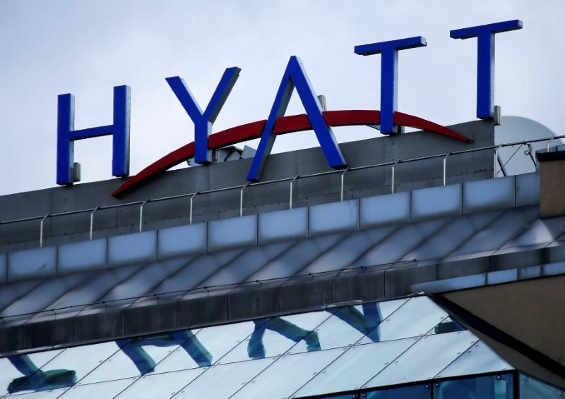 Company's logo is seen on Ararat Park Hyatt Moscow hotel in central Moscow