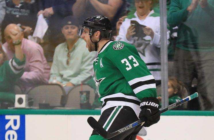 DALLAS, TX - APRIL 22: Alex Goligoski #33 of the Dallas Stars celebrates his goal against the Minnesota Wild in the third period in Game Five of the Western Conference First Round during the 2016 NHL Stanley Cup Playoffs at American Airlines Center on April 22, 2016 in Dallas, Texas. (Photo by Ronald Martinez/Getty Images)