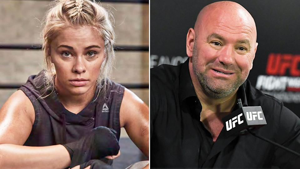 Pictured here, fighter Paige VanZant and UFC president Dana White.