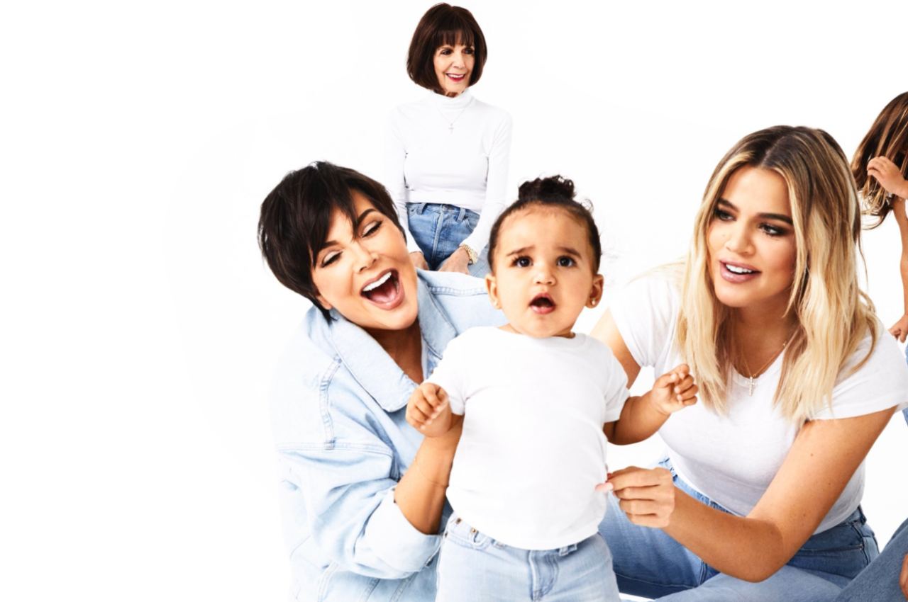 <p>Rob's daughter, Dream, takes center stage with Khloé and Kris as grandma M.J. hovers behind. (Photo: Eli Russell Linnetz/Kim Kardashian via Twitter) </p>