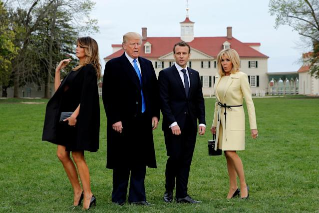 <p>U.S. President Donald Trump and first lady Melania Trump and French President Emmanuel Macron and Brigitte Macron prepare to have their picture taken on a visit to the estate of the first U.S. President George Washington in Mount Vernon, Virginia outside Washington, April 24, 2018. (Photo: Jonathan Ernst/Reuters) </p>