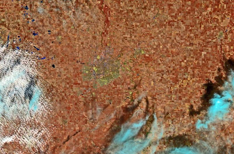 A satellite image provided by the U.S. Geological Survey, shows a view from space of the city of Sioux Falls, S.D., as seen from the Landsat 8 satellite on Mar. 30, 2013. (AP Photo/U.S. Geological Survey)