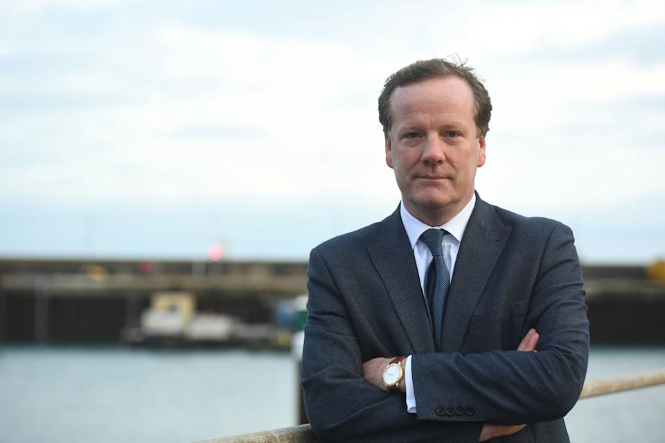 Local MP Charlie Elphicke after a meeting alongside Immigration Minister Caroline Nokes and Border Force officers in Dover, to discuss migrants' attempts to reach Britain by small boat.