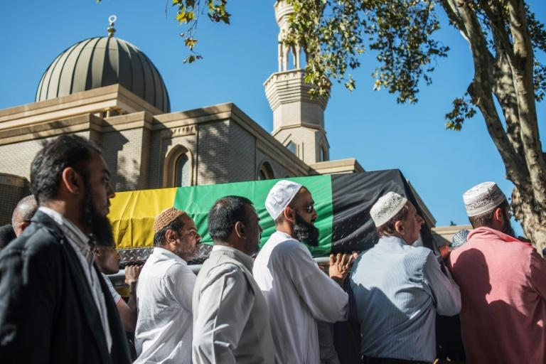 The coffin of South African anti-apartheid activist Ahmed Kathrada is carried to Masjidul Furkaan in Houghton during his wake on March 29, 2017