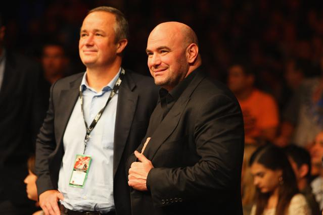 SYDNEY, AUSTRALIA - MARCH 03: UFC President Dana White watches on during the UFC On FX welterweight bout between Martin Kampmann and Thiago Alves at Allphones Arena on March 3, 2012 in Sydney, Australia. (Photo by Mark Kolbe/Getty Images)