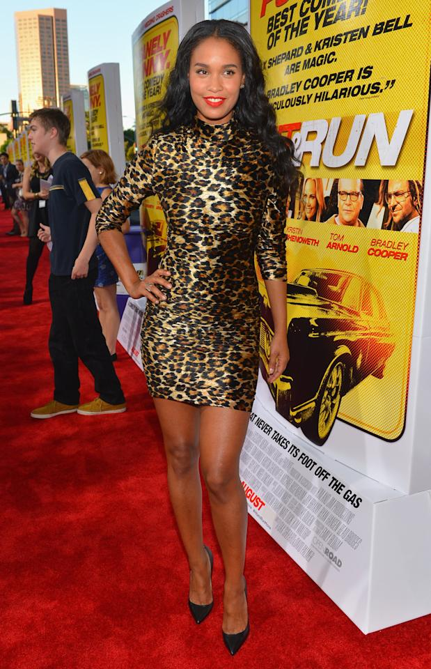 """LOS ANGELES, CA - AUGUST 14:  Actress Joy Bryant arrives to the premiere of Open Road Films' """"Hit and Run"""" on August 14, 2012 in Los Angeles, California.  (Photo by Alberto E. Rodriguez/Getty Images)"""