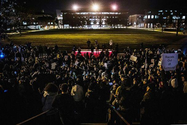 PHOTO: Students rally against white supremacy at Syracuse University in Syracuse, N.Y., Nov. 20, 2019. (Maranie Staab/Reuters)