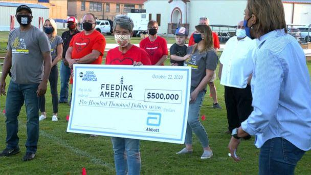 PHOTO: Jody Farnum was surprised live on 'Good Morning America' with a $500,000 commitment from Abbott for Feeding America. (ABC News)