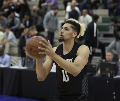 In this May 17, 2018, file photo, standout college basketball recruit Brian Bowen participates in the NBA draft basketball combine in Chicago. (AP)