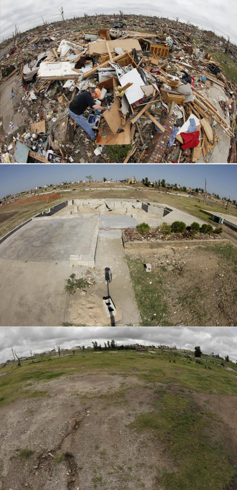 This three-photo combo taken with a fisheye lens shows a scene taken on May 25, 2011, top, July 21, 2011, center, and May 7, 2012, bottom, shows progress made in Joplin, Mo. in the year after an EF-5 tornado destroyed a large swath of the city and killed 161 people. In the top photo, David Turner, from Waco, Tex., sorts through belongings in a house occupied by his two sisters in a neighborhood now mostly cleared of debris. (AP Photo/Charlie Riedel)