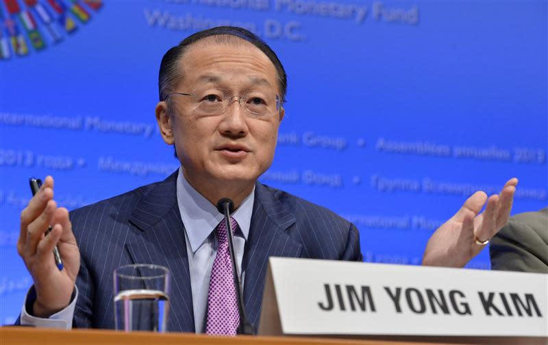 World Bank President Jim Yong Kim makes remarks at a news conference during the IMF and World Bank's 2013 Annual Fall Meetings in Washington
