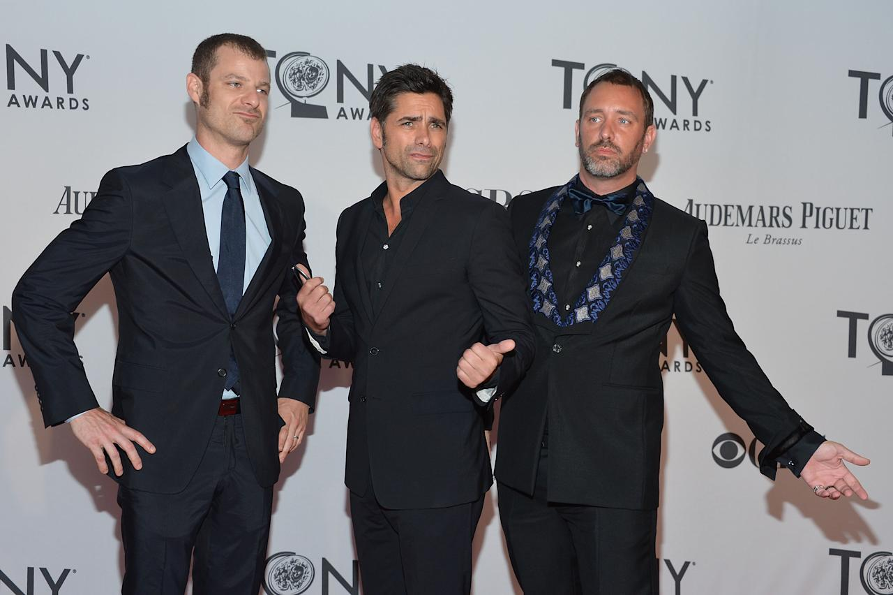 NEW YORK, NY - JUNE 10:  John Stamos (center) with Trey Parker and Matt Stone attend the 66th Annual Tony Awards at The Beacon Theatre on June 10, 2012 in New York City.  (Photo by Mike Coppola/Getty Images)