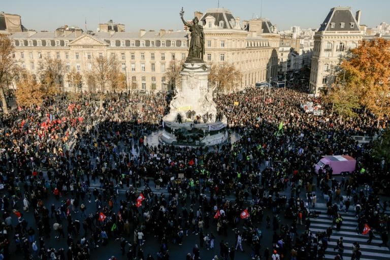 """Police everywhere, justice nowhere"" and ""police state"" were some of the placards brandished by protesters in Paris"
