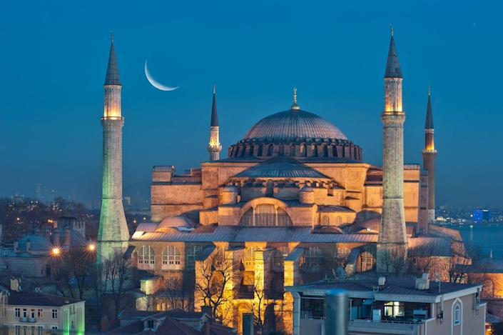 A crescent moon above the Hagia Sofia in Istanbul.