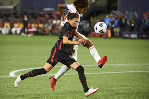 Portland Thorns FC forward Christine Sinclair, left, scored in the 24th minute of a 2-1 loss to the Chicago Red Stars on Saturday. (Troy Wayrynen/USA TODAY Sports/File - image credit)