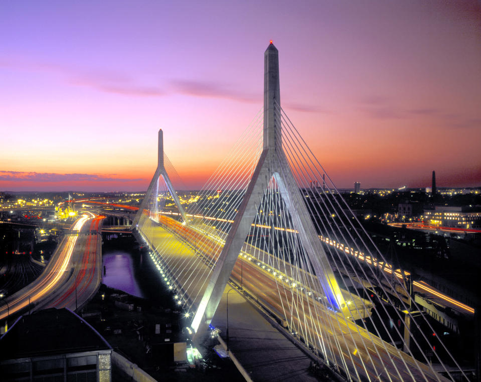 August 2003. World's widest cable stayed bridge crossing Charles River. Completed 2002
