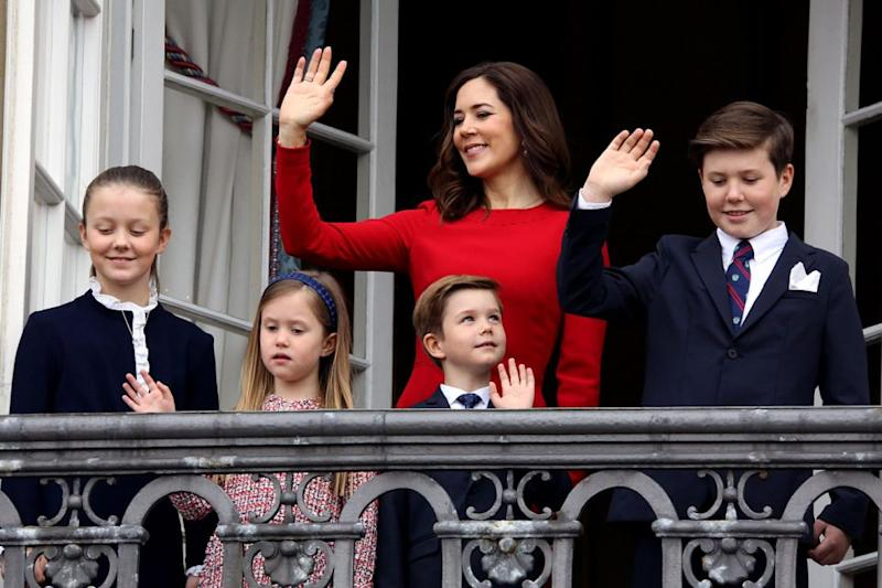Princess Mary and her four children appeared on the royal balcony at Christian IX's Palace, Amalienborg. Photo: Getty Images