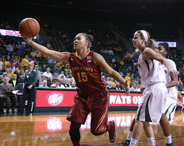 Iowa State guard Nicole (Kidd) Blaskowsky (15), left, reaches for a loose ball with Baylor guard Makenzie Robertson (14), in the first half of an NCAA college basketball game, Wednesday, Feb. 19, 2014, in Waco, Texas. (AP Photo/Rod Aydelotte)