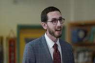 State Sen. Scott Wiener, D-San Francisco, speaks at a news conference at James Denman Middle School in San Francisco, Friday, Oct. 1, 2021. California has announced the nation's first coronavirus vaccine mandate for schoolchildren. Gov. Gavin Newsom said Friday that the mandate won't take effect until the COVID-19 vaccine has received final approval from the U.S. government for various grade levels. (AP Photo/Jeff Chiu)