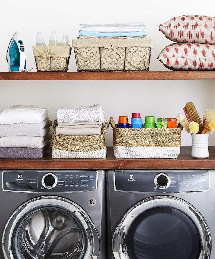 """<p>More than 15,000 fires start in home laundry rooms every year, according to the <a href=""""https://www.nfpa.org/News-and-Research/Data-research-and-tools/US-Fire-Problem/Home-fires-involving-clothes-dryers-and-washing-machines"""" rel=""""nofollow noopener"""" target=""""_blank"""" data-ylk=""""slk:National Fire Protection Association"""" class=""""link rapid-noclick-resp"""">National Fire Protection Association</a>. Beyond removing the fuzz from your dryer's filter after every load, pull out hard-to-reach lint with the crevice tool on your vacuum to suck up debris. Vacuum under, around, and behind the dryer as well. <br></p>"""