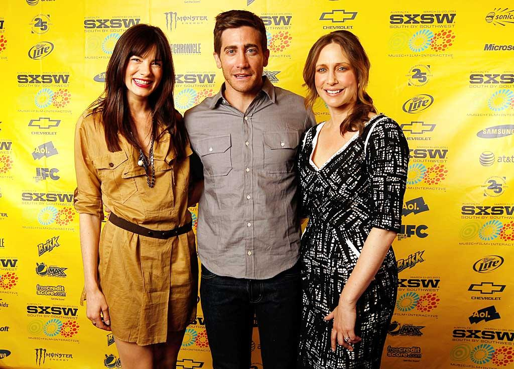 """Michelle Monaghan, Jake Gyllenhaal, and Vera Farmiga worked the red carpet at the SXSW Festival in Austin, Texas, Friday to promote their upcoming thriller """"Source Code."""" Mary Sledd/<a href=""""http://www.wireimage.com"""" target=""""new"""">WireImage.com</a> - March 11, 2011"""