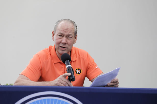 Houston Astros owner Jim Crane speaks during a news conference before the start of the first official spring training baseball practice for the team Thursday, Feb. 13, 2020, in West Palm Beach, Fla. (AP Photo/Jeff Roberson)