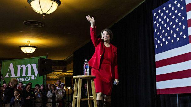 PHOTO: Democratic Presidential candidate Sen. Amy Klobuchar waves as she leaves the stage after speaking at a campaign rally at the Altria Theatre on Feb. 29, 2020, in Richmond, Va. (Zach Gibson/Getty Images)