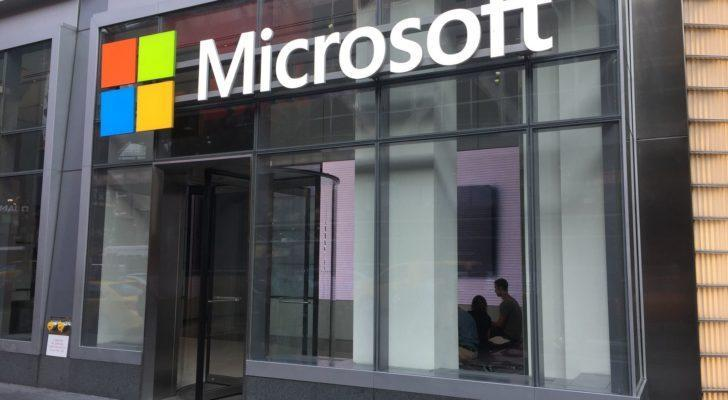 Image of corporate building with Microsoft (MSFT) logo above the entrance.