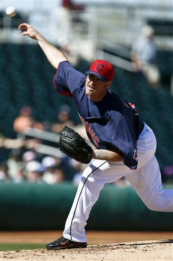 Cleveland Indians' Brett Myers throws a pitch against the Seattle Mariners in the second inning during an exhibition spring training baseball game, Wednesday, Feb. 27, 2013, in Goodyear, Ariz. (AP Photo/Ross D. Franklin)