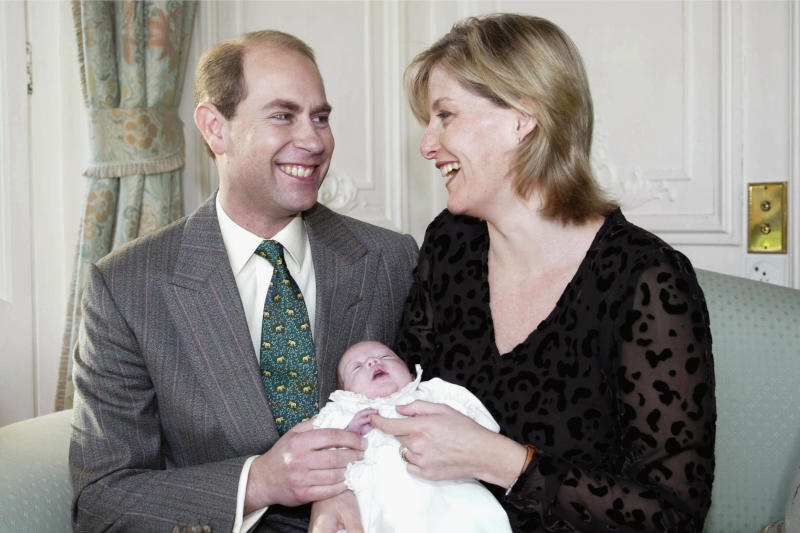 The Earl and Countess of Wessex (Prince Edward and Sophie) hold their newborn daughter, Lady Louise Windsor, in the sitting room of the royal home in Sandringham for this portrait taken by the Duke of York. (Photo by © Pool Photograph/Corbis/Corbis via Getty Images)