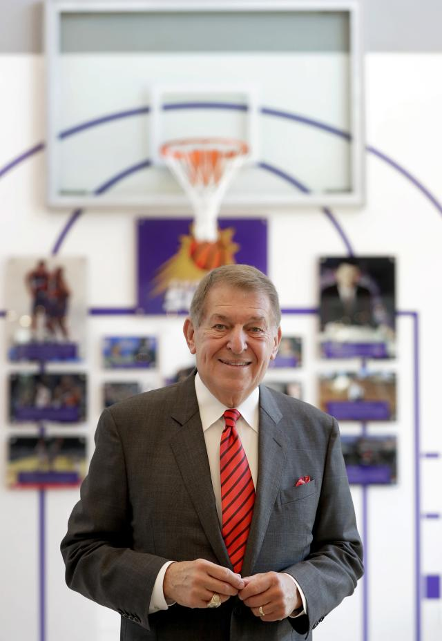 In this Wednesday, Sept. 20, 2017 photo, Jerry Colangelo stands for a photograph at the grand opening of the Jerry Colangelo Museum at Grand Canyon University in Phoenix. Colangelo has been an NBA and MLB owner, director of USA Basketball and the Naismith Hall of Fame. He's also made significant contributions to Grand Canyon University and the school is celebrating his career with an on-campus museum. (AP Photo/Matt York)