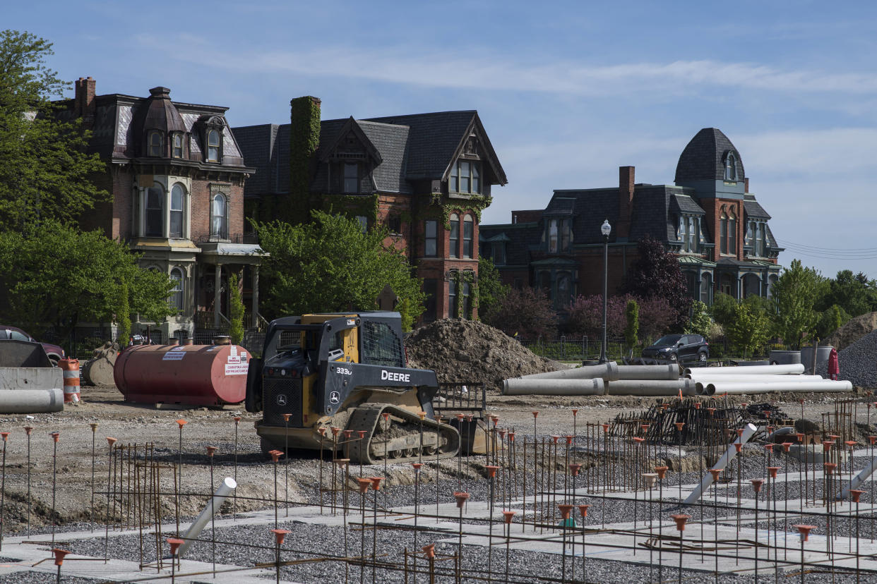 The rehabilitation of several mansions is seen as residential construction begins in Brush Park. (Photo: Brittany Greeson for Yahoo News)
