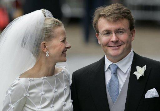 Dutch prince Johan Friso (right) and Mabel Wisse Smit smile during their wedding in Delft, on April 24, 2004. Dutch prince Johan Friso, who died on Monday 18 months after a skiing accident left him brain-damaged, was always regarded as an outsider who preferred to follow his own path rather than royal protocol