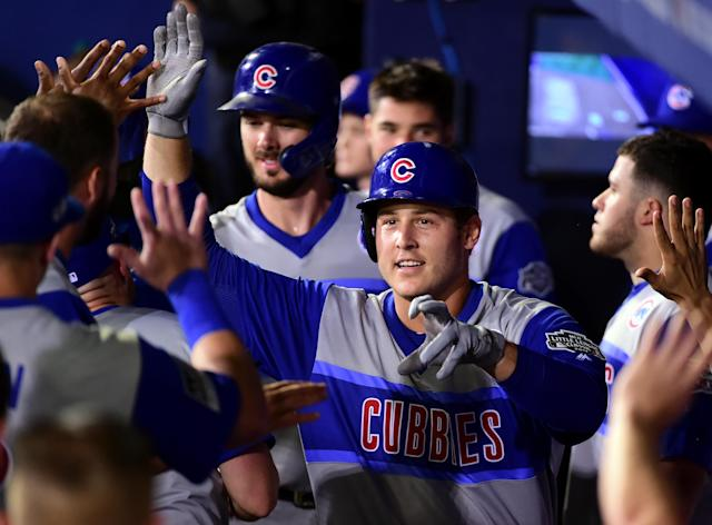 "<a class=""link rapid-noclick-resp"" href=""/mlb/players/8868/"" data-ylk=""slk:Anthony Rizzo"">Anthony Rizzo</a> and the <a class=""link rapid-noclick-resp"" href=""/mlb/teams/chi-cubs/"" data-ylk=""slk:Cubs"">Cubs</a> should enjoy a good schedule going forward. Mandatory Credit: Evan Habeeb-USA TODAY Sports"