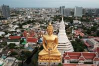 Giant Buddha statue of Wat Paknam Phasi Charoen temple is pictured in Bangkok