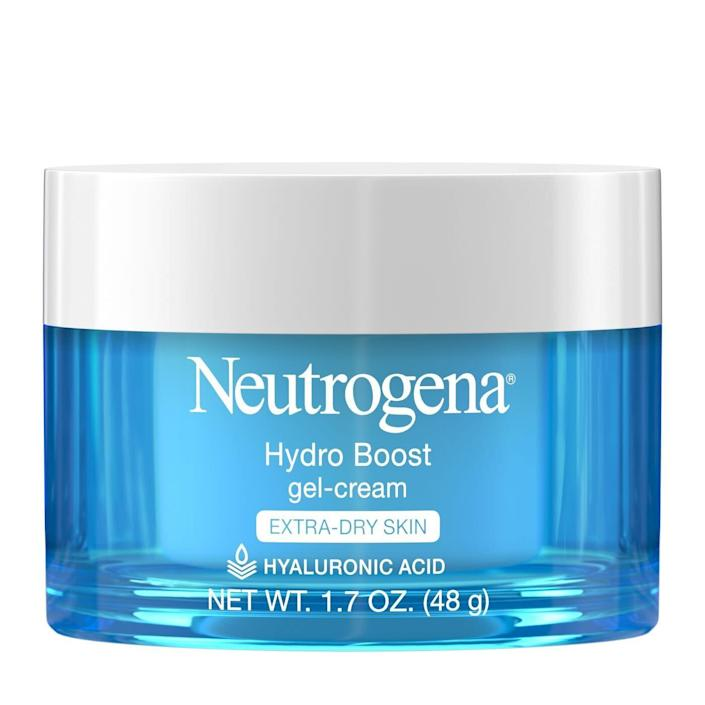 """Gel-based formulas tend to be lighter on the skin, which can be easier for acne-prone skin to handle. That&rsquo;s why the Neutrogena Hydro Boost Gel Cream is recommended by both Hayag and Jaber. <br><br>&ldquo;[It&rsquo;s] great for oily and dry skin. It contains a great trio of moisturizing ingredients: hyaluronic acid, glycerin and dimethicone,&rdquo; Hayag said. It has great moisturizing properties for something so lightweight, Jaber said. It&rsquo;s oil, dye and fragrance free, too. <br><br><strong><a href=""""https://www.target.com/p/unscented-neutrogena-hydro-boost-hyaluronic-acid-gel-face-moisturizer-to-hydrate-and-smooth-extra-dry-skin-1-7oz/-/A-16600134"""" rel=""""nofollow noopener"""" target=""""_blank"""" data-ylk=""""slk:$16.99 from Target"""" class=""""link rapid-noclick-resp"""">$16.99 from Target</a></strong>"""